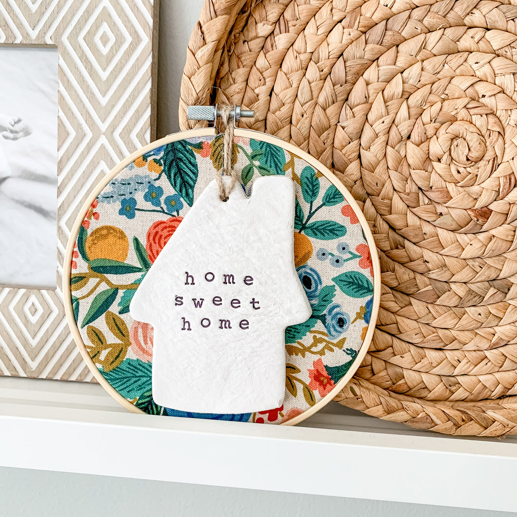 6 Inch Hoop with Rifle Paper Co. Garden Party Canvas Fabric and Hand Stamped Ivory Clay House 'Home Sweet Home' Ornament