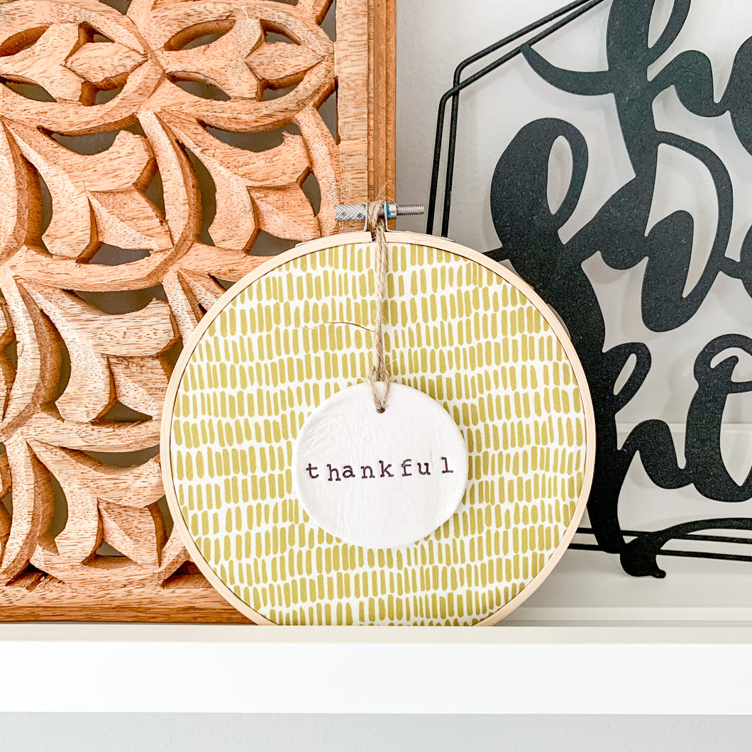 6 Inch Hoop with Green Dash Fabric and Hand Stamped Ivory Clay Circle 'Thankful' Ornament