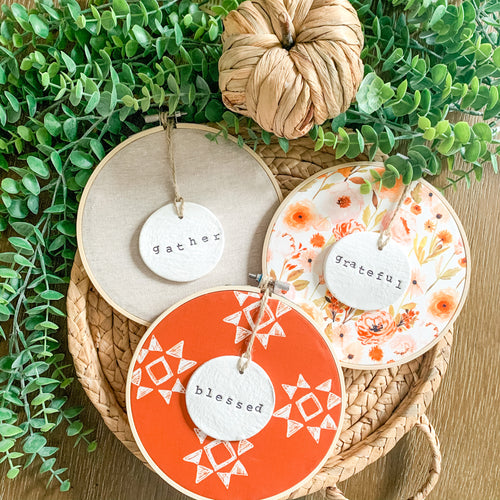 3 Hoop Set - 6 Inch Hoops with Fall Garden, Spiced Red Quilt, and Natural Tan Linen Fabric and Hand Stamped Ivory Clay Circle Ornaments