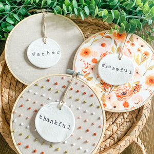 3 Hoop Set - 6 Inch Hoops with Fall Garden and Natural Tan Linen Fabric and Hand Stamped Ivory Clay Circle Ornaments