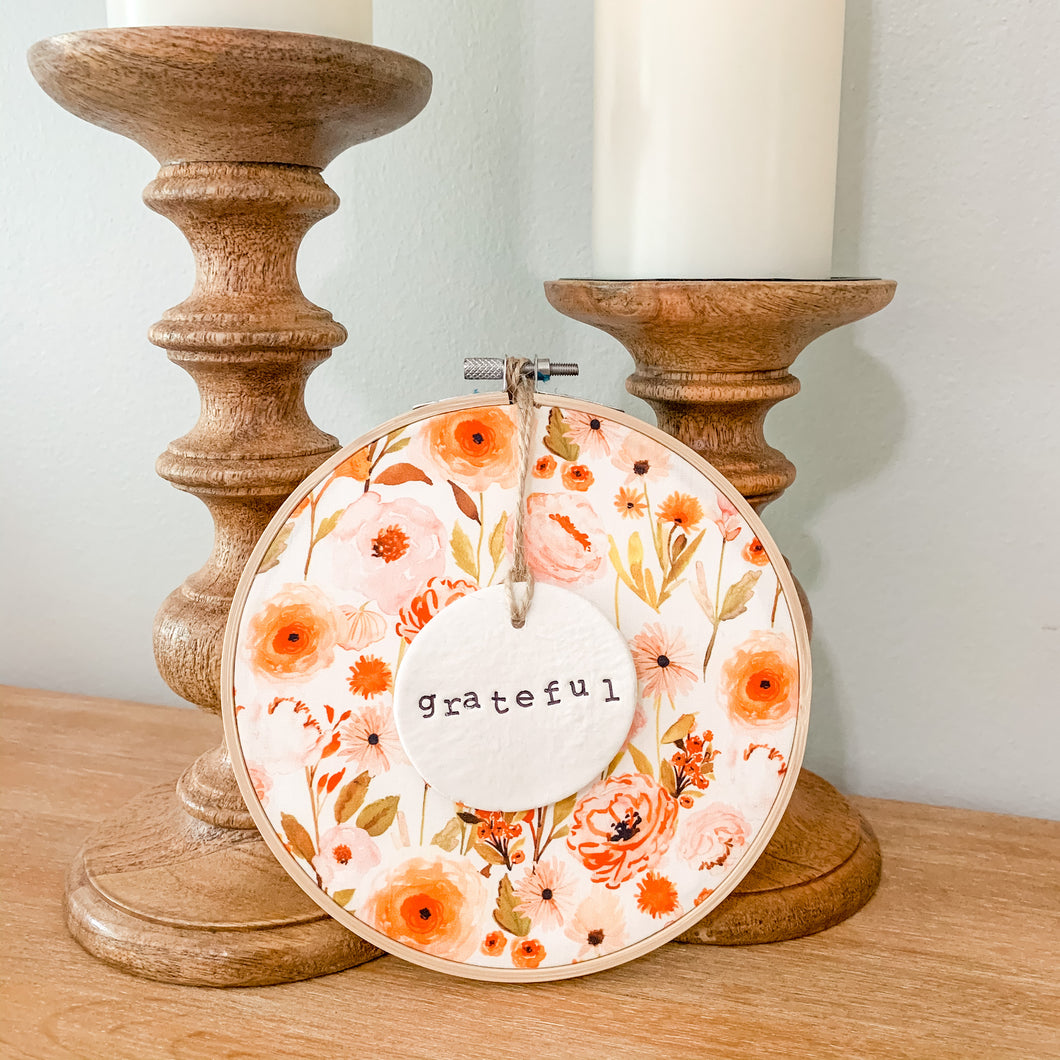 6 Inch Hoop with Fall Garden Fabric and Hand Stamped Ivory Clay Circle 'Grateful' Ornament