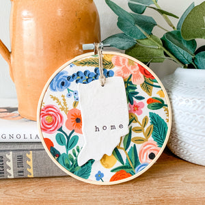 6 Inch Hoop with Rifle Paper Co. Cream Wildwood Garden Party Fabric and Hand Stamped Ivory Clay Indiana 'Home' Ornament
