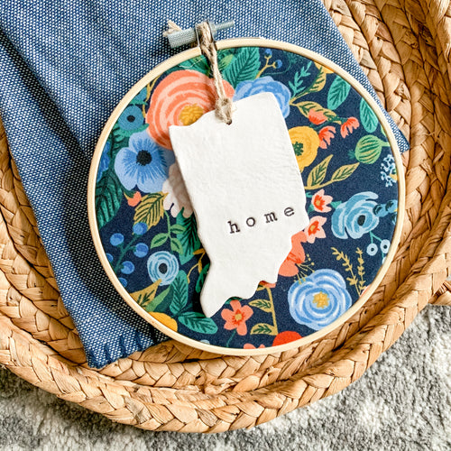 6 Inch Hoop with Rifle Paper Co. Navy Wildwood Garden Party Fabric and Hand Stamped Ivory Clay Indiana 'Home' Ornament