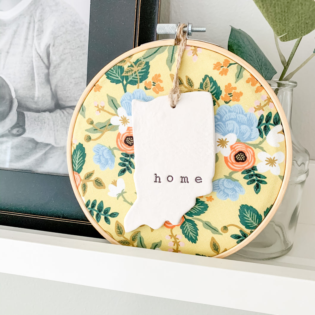 6 Inch Hoop with Rifle Paper Co. Yellow Birch Floral Fabric and Hand Stamped Ivory Clay Indiana 'Home' Ornament