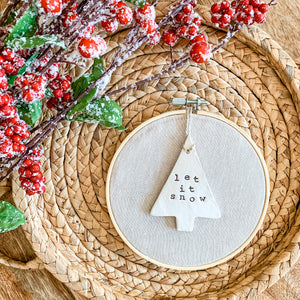 6 Inch Hoop with Natural Tan Linen Fabric and Hand Stamped Ivory Clay Tree 'Let it Snow' Ornament