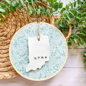 6 Inch Hoop with Rifle Paper Co Sage Tapestry Lace Fabric and Hand Stamped Ivory Clay Indiana 'Home' Ornament