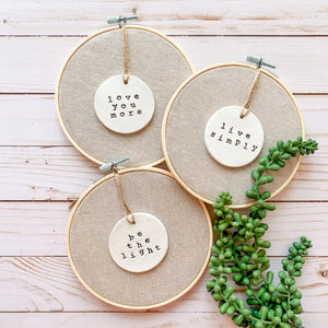 6 Inch Hoop with Flax Linen Fabric and Circle Ornament