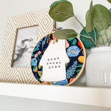 Load image into Gallery viewer, 6 Inch Hoop with Rifle Paper Co. Navy Garden Party Fabric and House Ornament