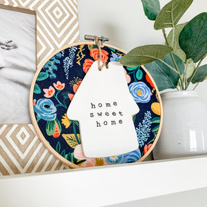 6 Inch Hoop with Rifle Paper Co. Navy Garden Party Fabric and House Ornament