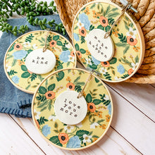 Load image into Gallery viewer, 6 Inch Hoop with Rifle Paper Co. Yellow Birch Floral Fabric and Circle Ornament