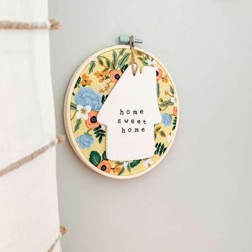 6 Inch Hoop with Rifle Paper Co. Yellow Birch Floral Fabric and House Ornament