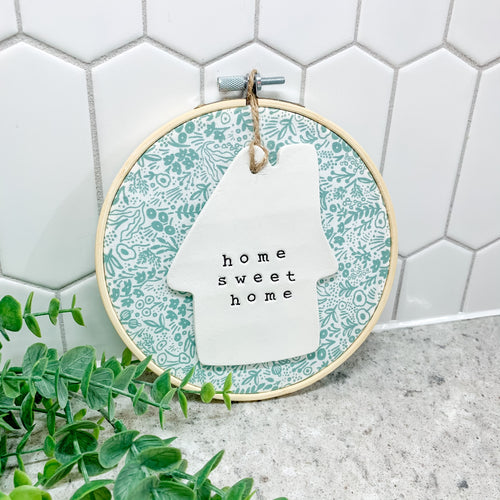 6 Inch Hoop with Rifle Paper Co. Sage Tapestry Lace Fabric and House Ornament