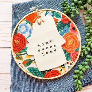 6 Inch Hoop with Rifle Paper Co. Cream Garden Party Fabric and House Ornament