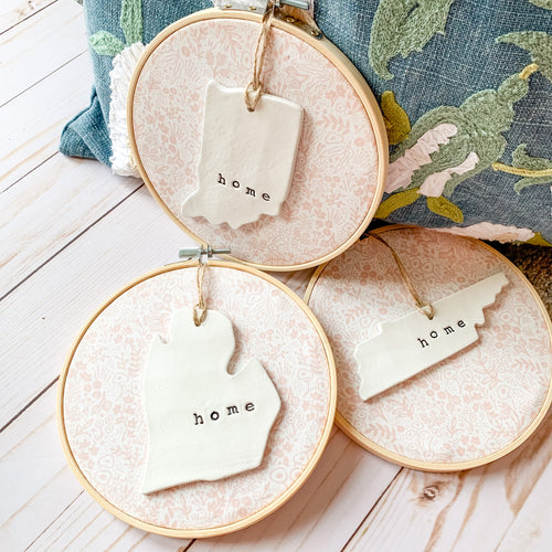 6 Inch Hoop with Rifle Paper Co. Blush Tapestry Lace Fabric and State Ornament