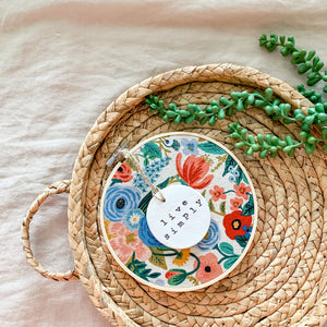 6 Inch Hoop with Rifle Paper Co. Canvas Garden Party Fabric and Circle Ornament