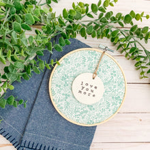 Load image into Gallery viewer, 6 Inch Hoop with Rifle Paper Co. Sage Tapestry Lace Fabric and Circle Ornament