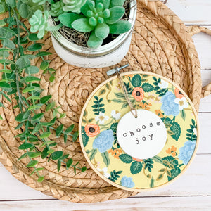 6 Inch Hoop with Rifle Paper Co. Yellow Birch Floral Fabric and Circle Ornament