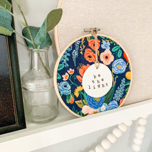 Load image into Gallery viewer, 6 Inch Hoop with Rifle Paper Co. Navy Garden Party Fabric and Circle Ornament