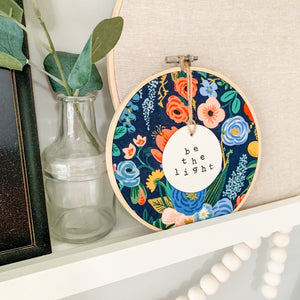 6 Inch Hoop with Rifle Paper Co. Navy Garden Party Fabric and Circle Ornament