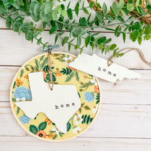 Load image into Gallery viewer, 6 Inch Hoop with Rifle Paper Co. Yellow Birch Floral Fabric and State Ornament