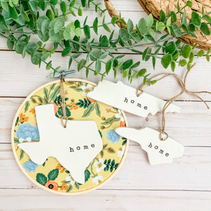 6 Inch Hoop with Rifle Paper Co. Yellow Birch Floral Fabric and State Ornament