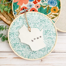 Load image into Gallery viewer, 6 Inch Hoop with Rifle Paper Co. Sage Tapestry Lace Fabric and State Ornament