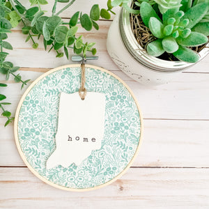 6 Inch Hoop with Rifle Paper Co. Sage Tapestry Lace Fabric and State Ornament