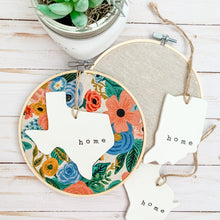 Load image into Gallery viewer, 6 Inch Hoop with Rifle Paper Co. Canvas Garden Party Fabric and State Ornament