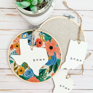 6 Inch Hoop with Rifle Paper Co. Canvas Garden Party Fabric and State Ornament