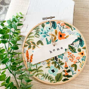 6 Inch Hoop with Rifle Paper Co. Herb Garden Fabric and State Ornament