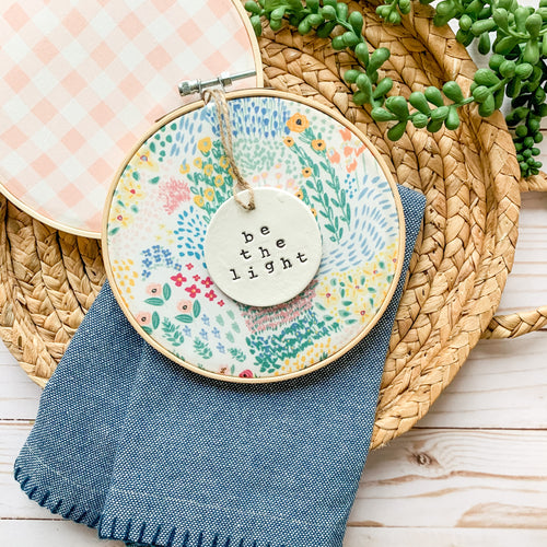 6 Inch Hoop with Spring Garden Fabric and Circle Ornament