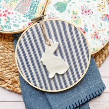 Load image into Gallery viewer, 6 Inch Hoop with Farmhouse Ticking Stripe Fabric and Bunny Ornament