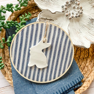 6 Inch Hoop with Farmhouse Ticking Stripe Fabric and Bunny Ornament