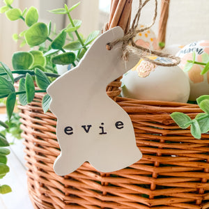 Customizable Clay Ornament - Hand Stamped Bunny with Word or Name