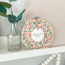 Load image into Gallery viewer, 6 Inch Hoop with Rifle Paper Co. Rose Rosa Fabric and Circle Ornament