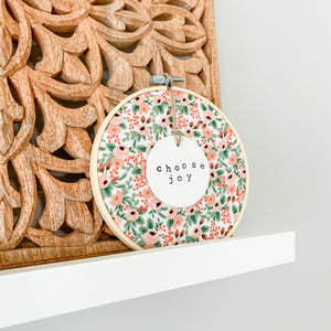 6 Inch Hoop with Rifle Paper Co. Rose Rosa Fabric and Circle Ornament