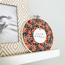 Load image into Gallery viewer, 6 Inch Hoop with Rifle Paper Co. Burgundy Rosa Fabric and Circle Ornament