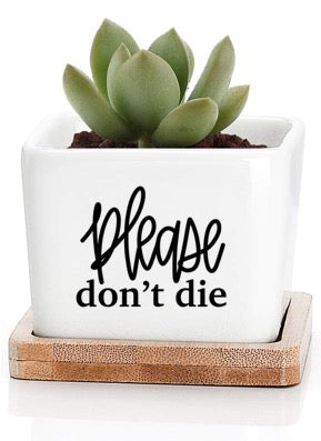 Small Square Plant Pot - Please Don't Die