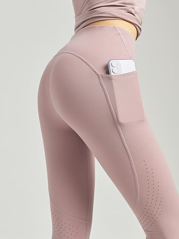 Laser cut ventilation power stretch leggings