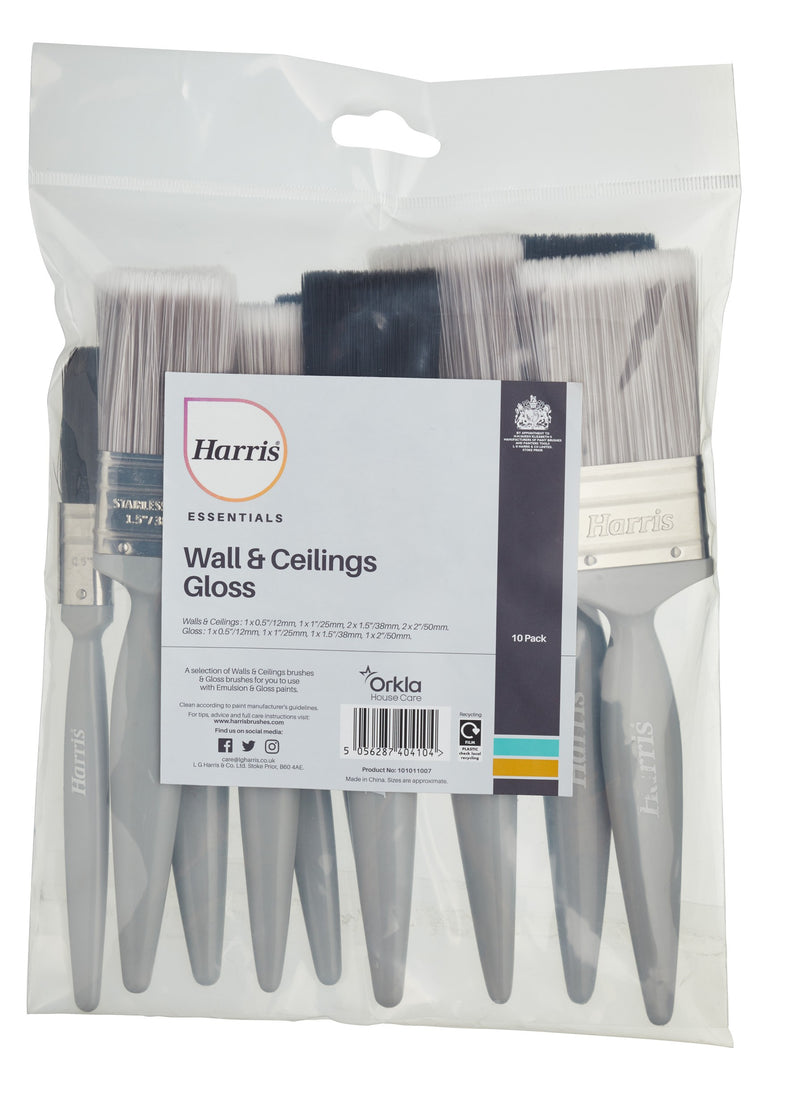Harris Wall, Ceiling & Gloss Brushes 10 pack