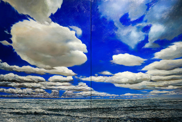 Seascape (Cloudy), 2016 [diptych]