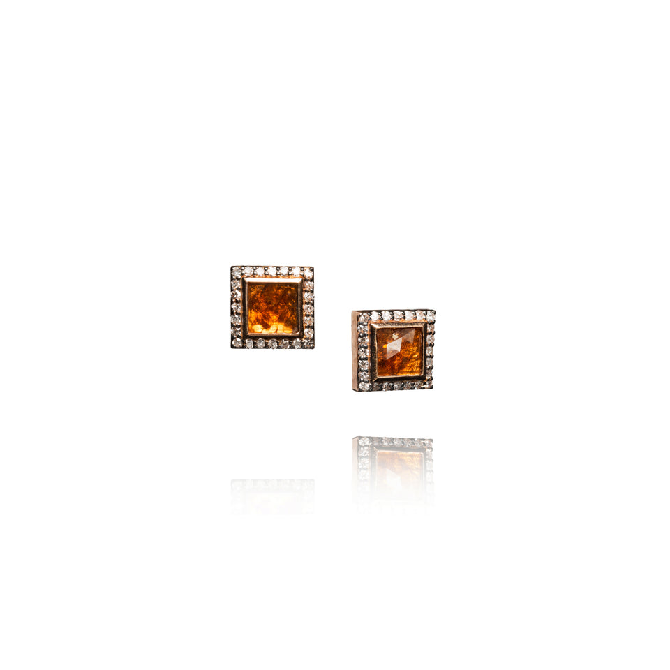 Golden Slice Diamond Stud Earrings