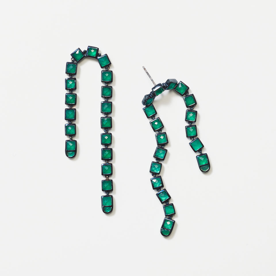 Arc Earrings - Green Onyx