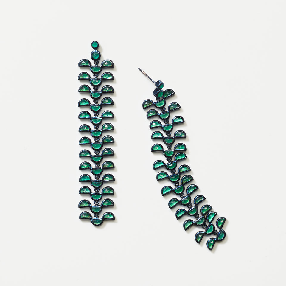 Column Earrings - Green Onyx