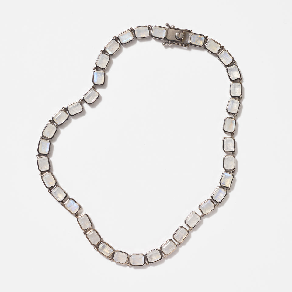 Large Deco-Tile Riviere Necklace - Rainbow Moonstone