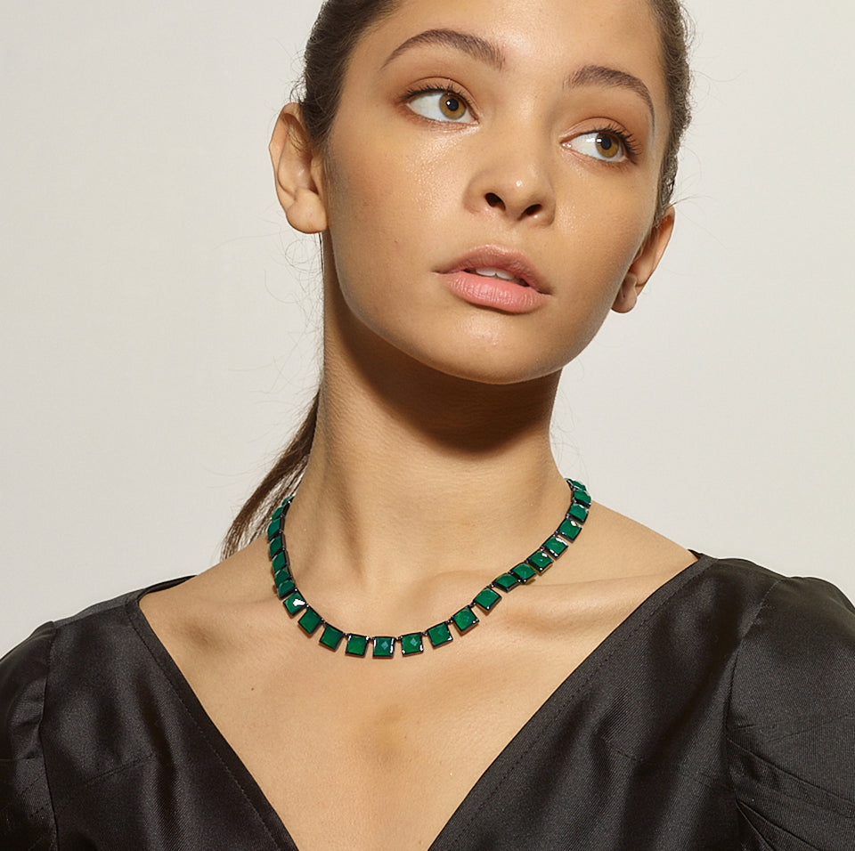 Large Tile Riviere Necklace - Green Onyx