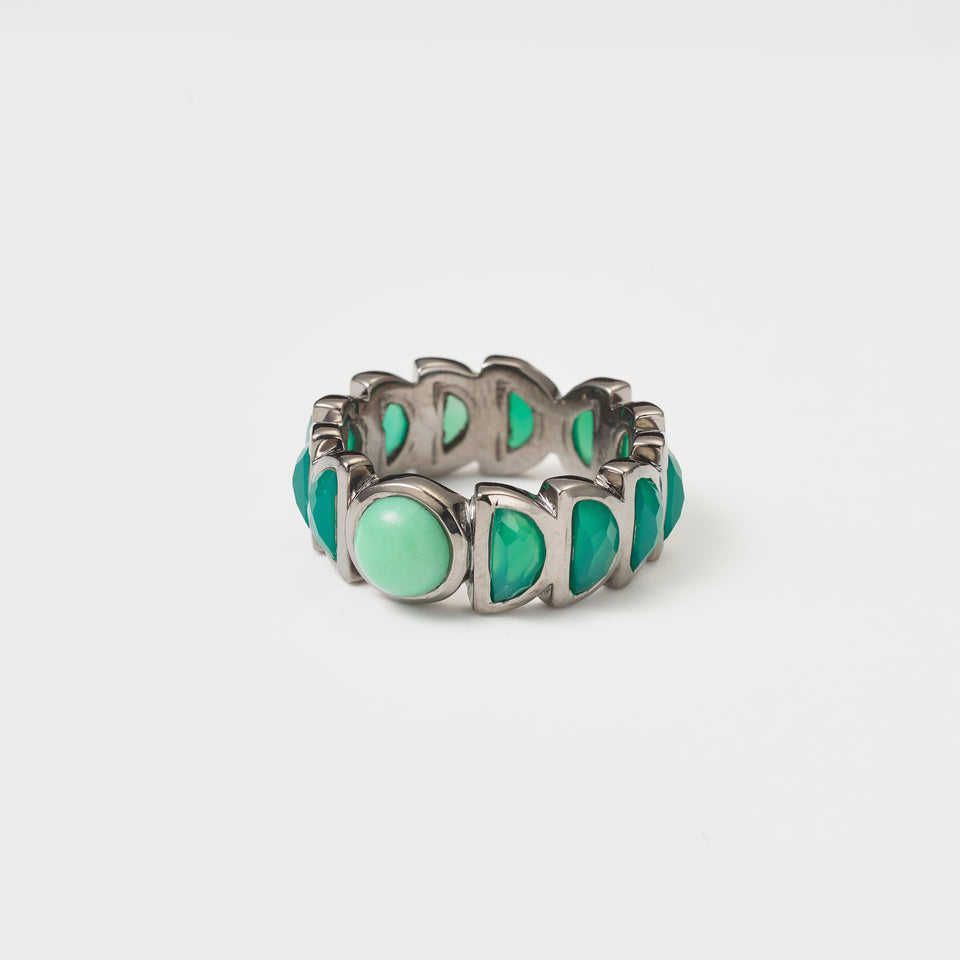 Luna Band Ring - Chrysoprase and Green Onyx