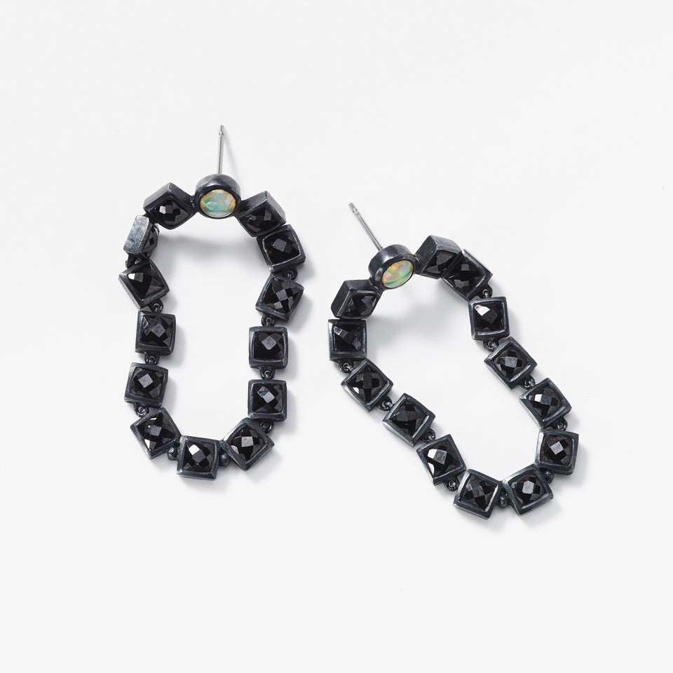 Loop Earrings - Black Spinel & Ethiopian Opal