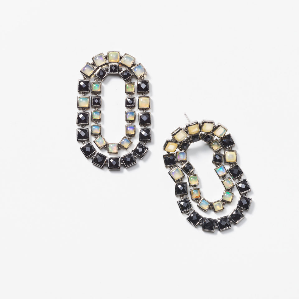 Black Spinel Loop Earrings