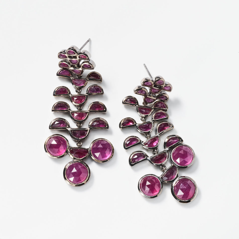 Reptile Girandole Earrings - Ruby